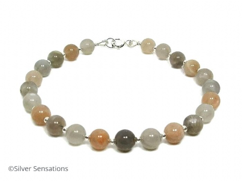Natural Grey & Peach Moonstone & Sterling Silver Beaded Bracelet